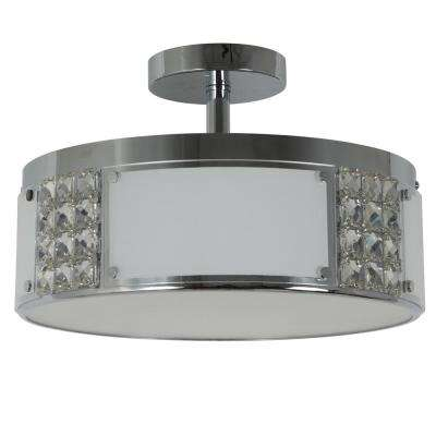 Iris 15 in. 2-Light Chrome Metal and Glass Flush Mount Ceiling Light