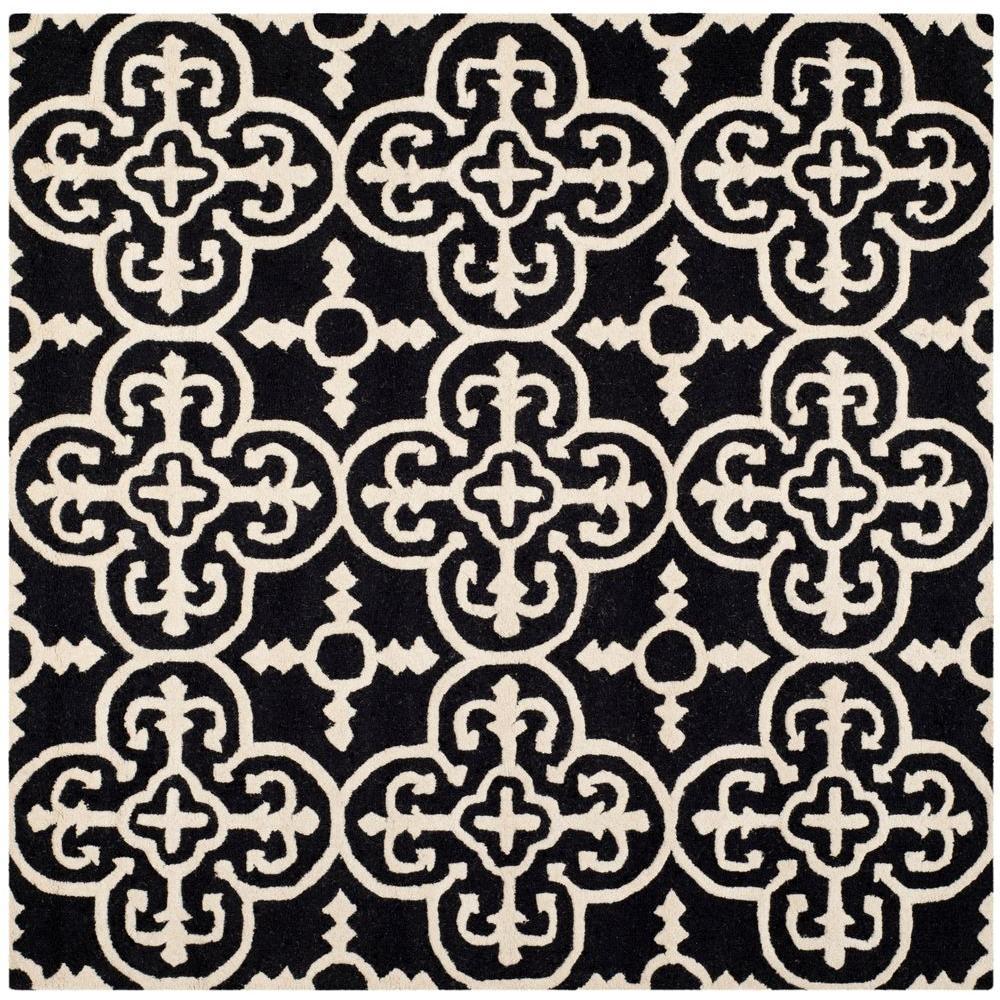 Cambridge Black/Ivory 6 ft. x 6 ft. Square Area Rug