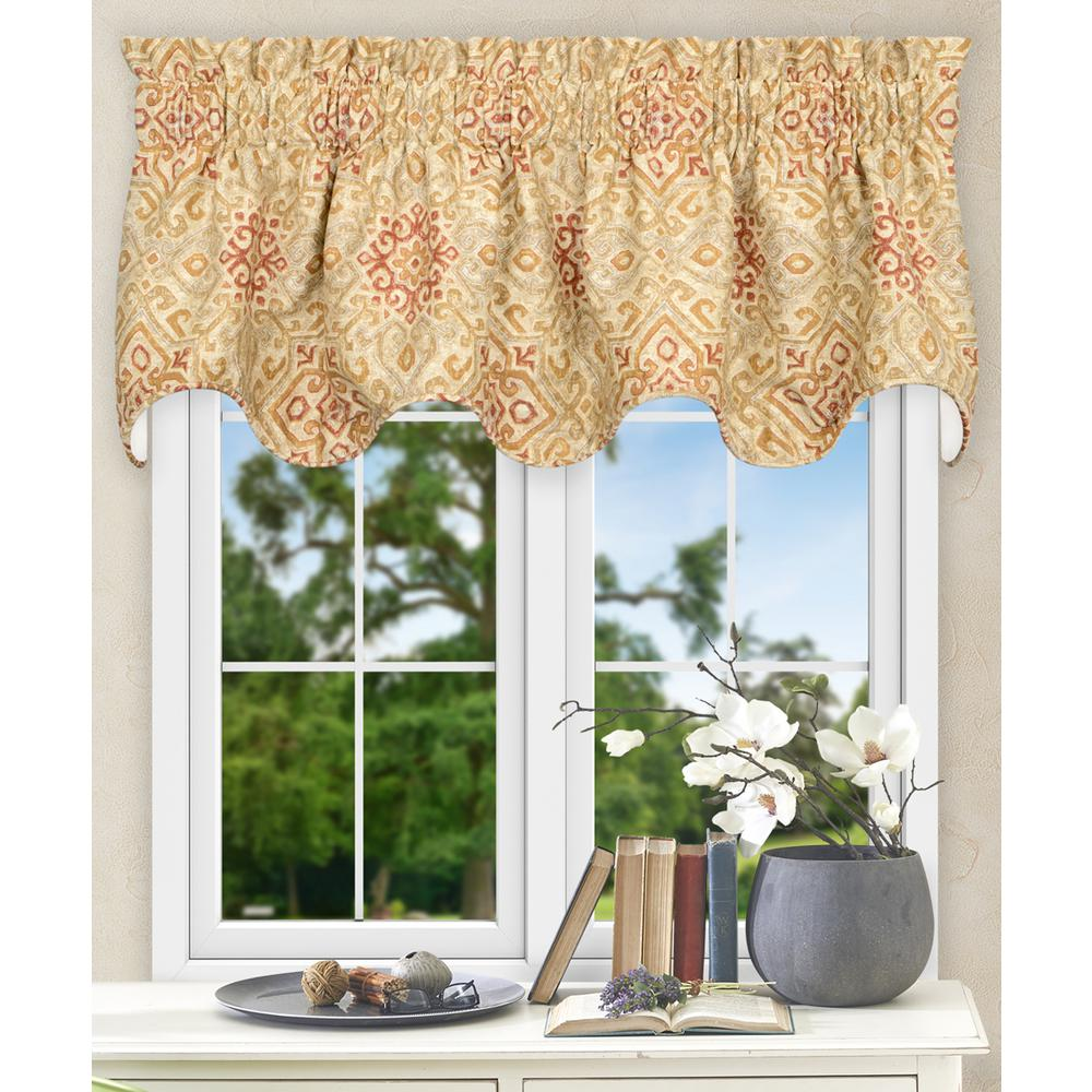 17 in. L Miramar Medallion Cotton Lined Scallop Valance in Honey
