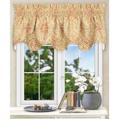 17 in. L Miramar Medallion Cotton Lined Scallop Valance in Honey Beige
