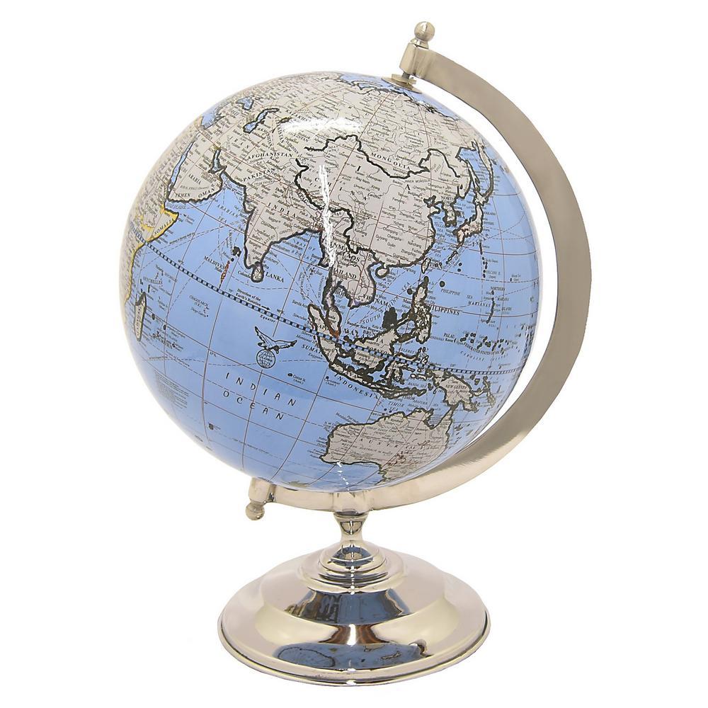 9 in. Metal Globe 5 in. - Nickel Base in Blue