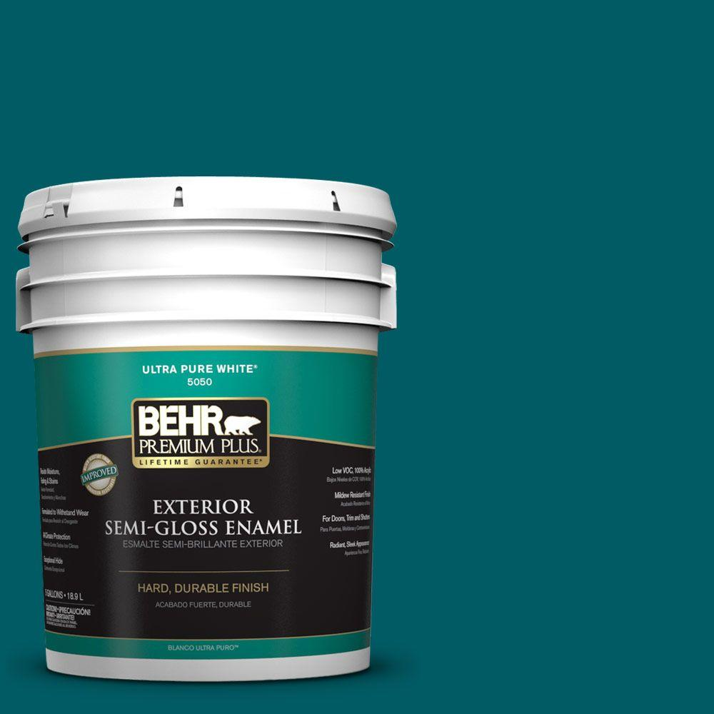 BEHR Premium Plus 5-gal. #S-H-530 Tropical Skies Semi-Gloss Enamel Exterior Paint
