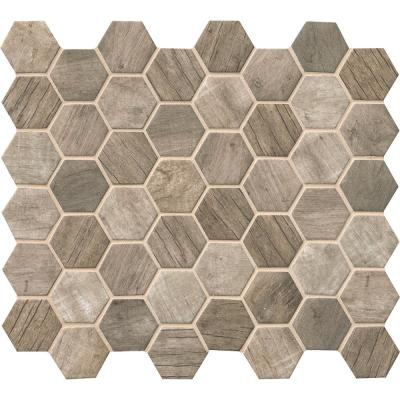 Driftwood Hexagon 11.02 in. x 12.76 in. x 6 mm Glass Mesh-Mounted Mosaic Tile (14.65 sq. ft./case)