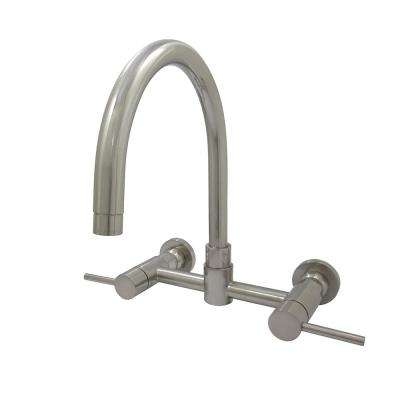 Concord 2-Handle Wall-Mount Standard Kitchen Faucet in Satin Nickel