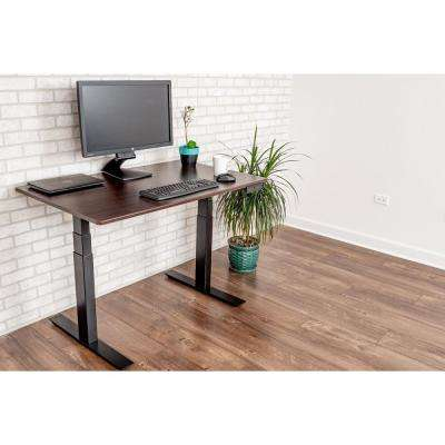 Black and Dark Walnut Desk