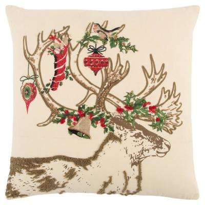 Christmas Deer 20 in. x 20 in. Decorative Filled Pillow