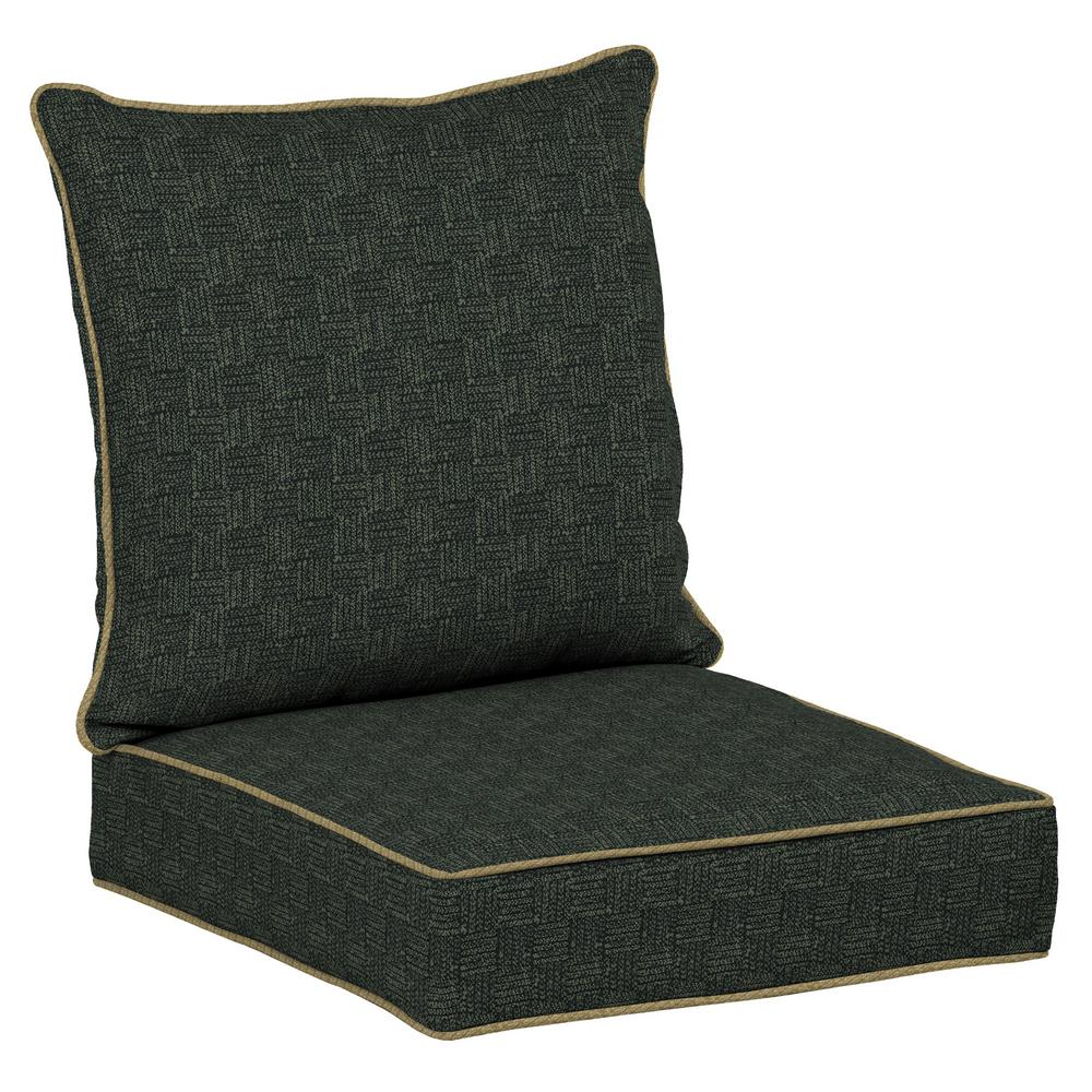 Tangier Stitch Snap Dry 2-Piece Deep Seating Outdoor Dining Chair Cushion