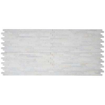 Greecian White Veneer 8 in. x 18 in. x 10 mm Tumbled Marble Mesh-Mounted Mosaic Tile (10 sq. ft. / case)