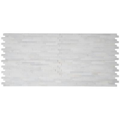 Greecian White Veneer 8 in. x 18 in. x 10 mm Textured Marble Mesh-Mounted Mosaic Tile (10 sq. ft. / case)
