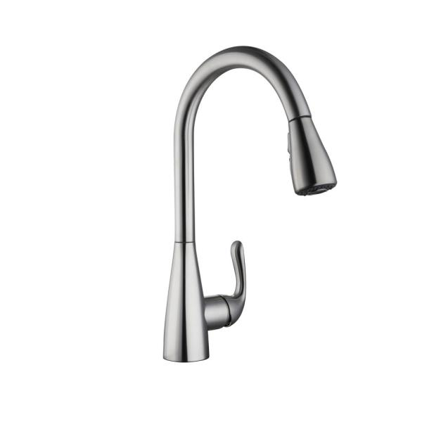Glacier Bay Carla Single Handle Pull Down Sprayer Kitchen Faucet In Stainless Steel Hd67826 0008d2 The Home Depot
