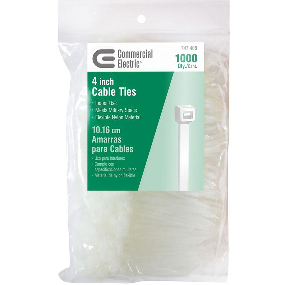 Commercial Electric 4 in. Cable Tie - Natural (1000-Pack)