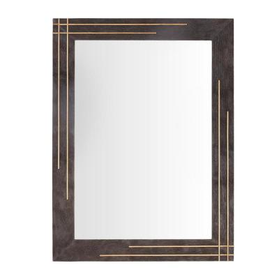 Medium Rectangle Brown Accent Mirror with Gold Inlay (32 in. H x 24 in. W)
