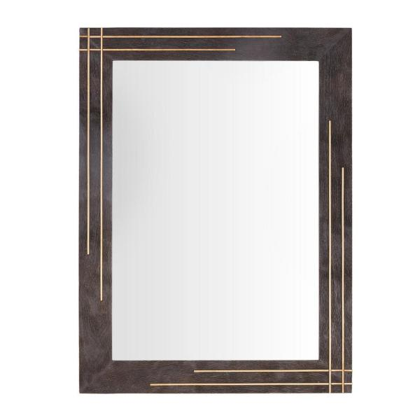 32 in. H x 24 in. W StyleWell Rectangle Framed Dark Wood Accent Mirror with Gold Inlay
