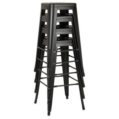 Bristow 30 in. Matte Black Antique Metal Bar Stool (Set of 4)