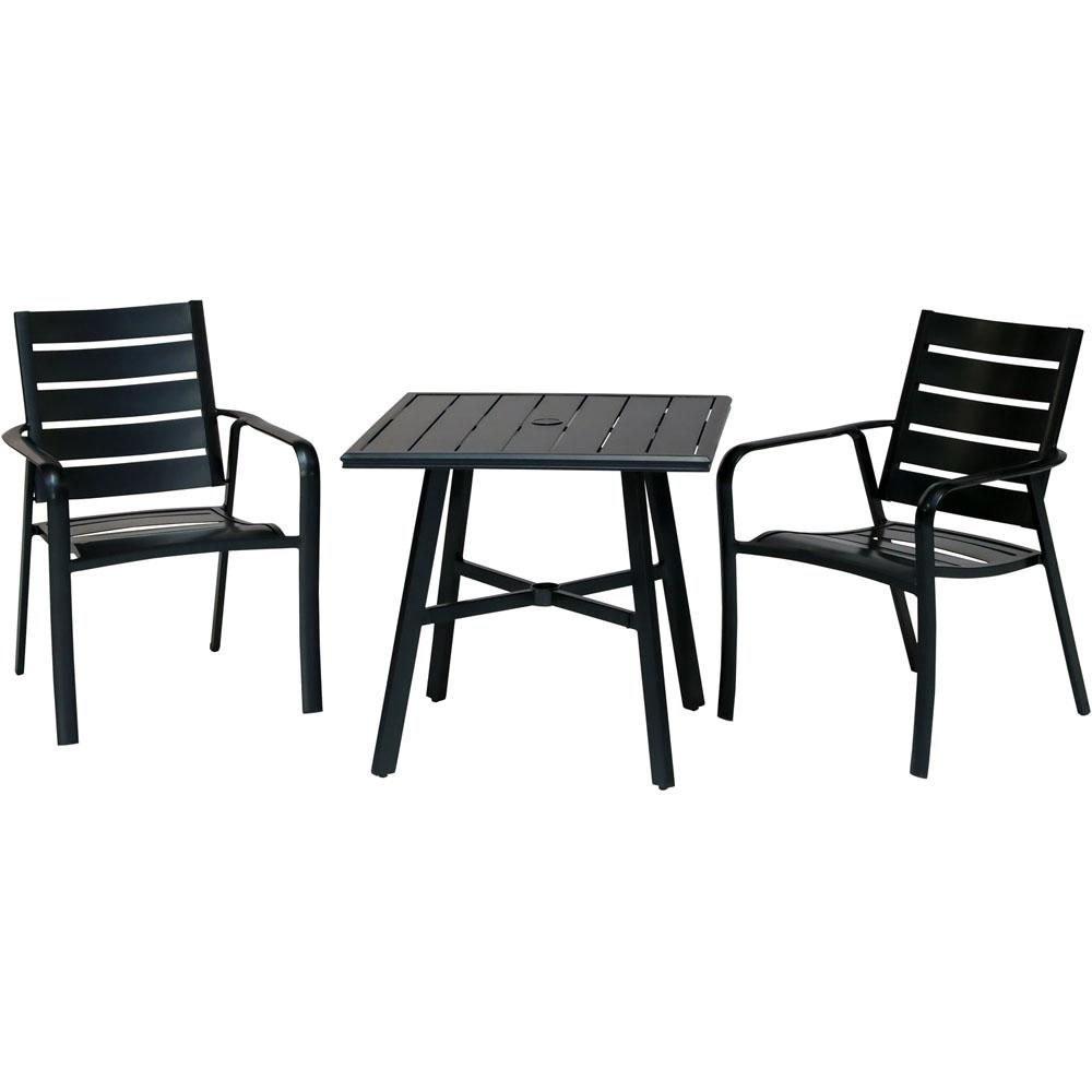 Fantastic Hanover Cortino 3 Piece Commercial Rust Free Aluminum Outdoor Bistro Set With Slat Back Dining Chairs And 30 In Slat Top Table Home Remodeling Inspirations Propsscottssportslandcom