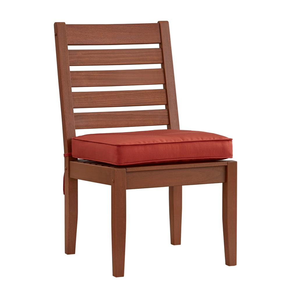 HomeSullivan Verdon Gorge Brown Wood Outdoor Dining Chair With Red Cushion  (2 Pack)
