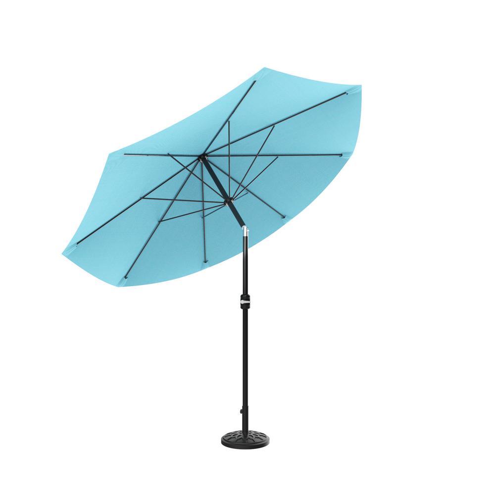 Pure Garden 10 ft. Aluminum Patio Umbrella with Auto Tilt in Blue