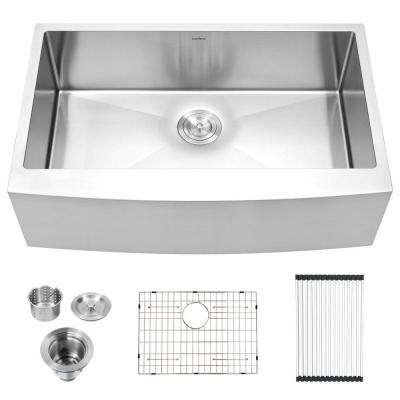 Apron-Front Stainless Steel 30 in. 16-Gauge Single Bowl Farmhouse Kitchen Sink with Drain Strainer