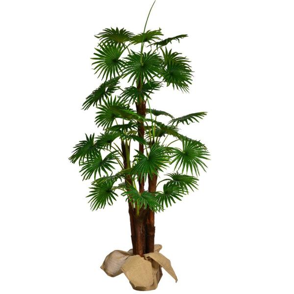 Laura Ashley 66 in. Tall Fan Palm Tree Artificial Faux Decor with Burlap Kit