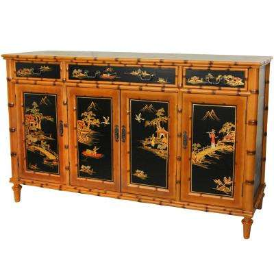 Oriental Furniture Light Brown Ching Hall Cabinet