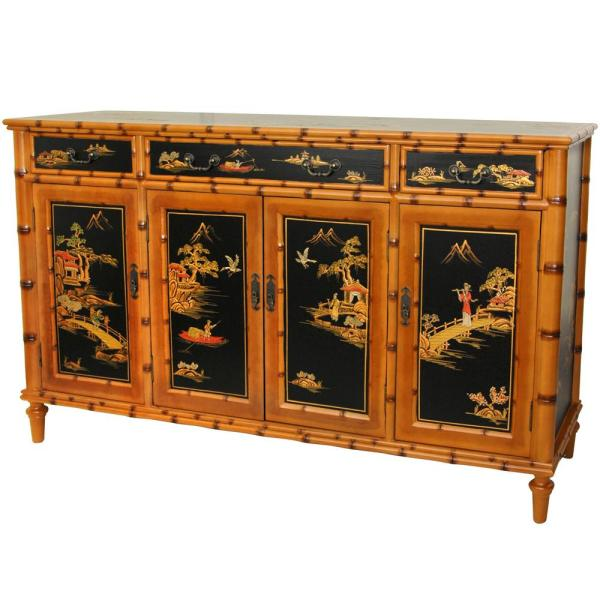Oriental Furniture Oriental Furniture Light Brown Ching Hall Cabinet