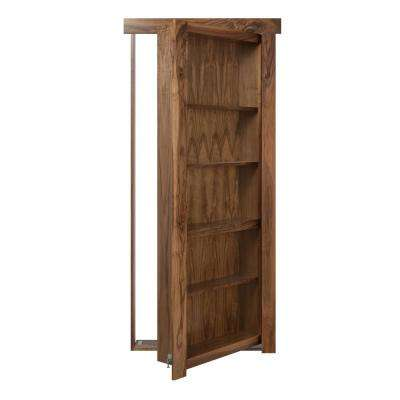 32 in. x 80 in. Flush Mount Assembled Walnut Natural Stained Right-Hand Inswing Solid Core Interior Bookcase Door