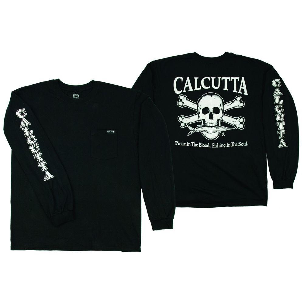 Adult Triple Extra Large Original Logo Long Sleeved Front Pocket T-Shirt in Black