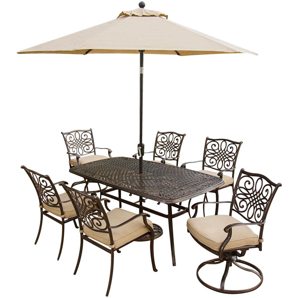Miraculous Hanover Traditions 7 Piece Aluminum Outdoor Patio Dining Set And 2 Swivel Chairs Umbrella And Base With Natural Oat Cushions Pdpeps Interior Chair Design Pdpepsorg