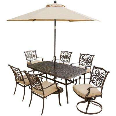 Traditions 7-Piece Aluminum Outdoor Patio Dining Set and 2 Swivel Chairs, Umbrella and Base with Natural Oat Cushions