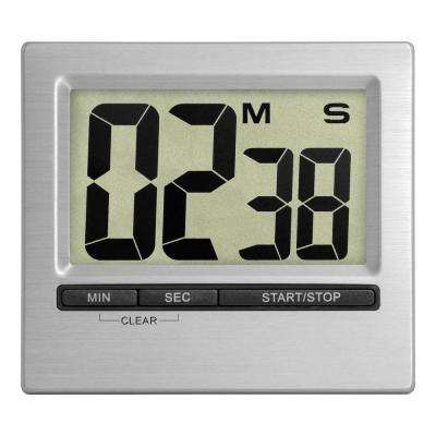 3 in. Square Digital Silver Countdown Timer and Stopwatch