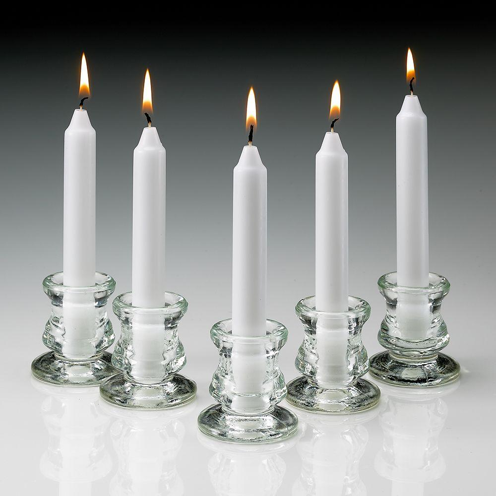 6 in. Tall 3/4 in. Thick Unscented White Taper Candles (Set