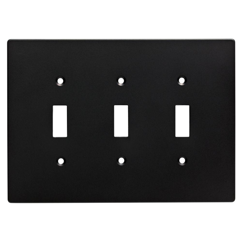 Hampton Bay Subway Tile Decorative Triple Switch Plate Flat Black