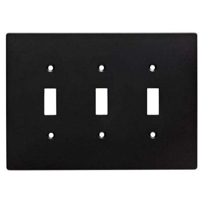 Subway Tile Decorative Triple Switch Plate, Flat Black