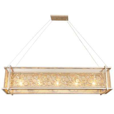 Varaluz Fascination 5-Light Zen Gold Linear Pendant with Recycled Champagne Glass by Champagne Glasses