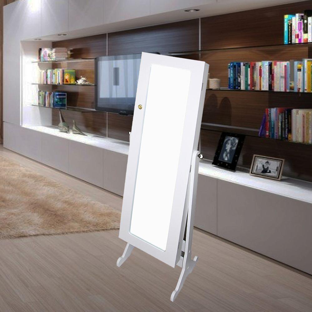 Large White Wood Beveled Glass Hooks Tilting Coastal Modern Mirror (57 in. H X 16.5 in. W)