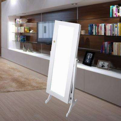 57 in. H x 16.5 in. W Wooden Standing Mirror with Storage in White