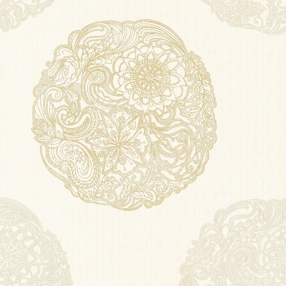 Kenneth James Cordova Champagne Medallion Wallpaper 2618-21354