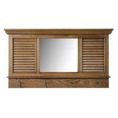 Shutter 23.25 in. H x 43 in. W Weathered Oak Framed Wall Mirror with 4-Hooks