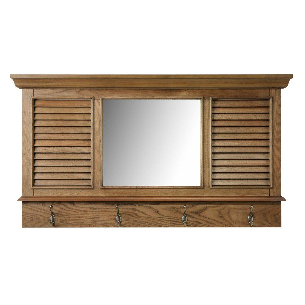 Home decorators collection shutter in h x 43 in w weathered oak framed wall mirror with - Home decor wall mirrors collection ...