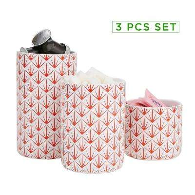 3-Piece Small, Medium, Large Ceramic Canister Set with Lids, Red