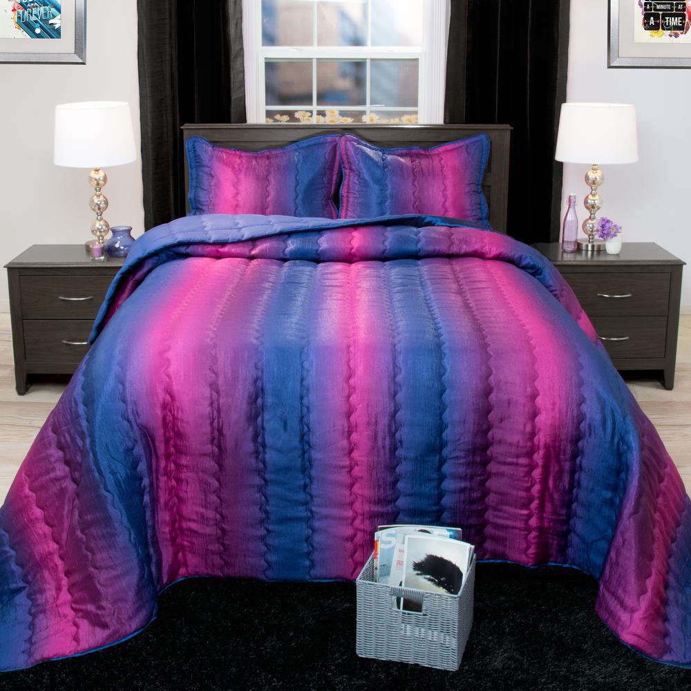 Striped 3-Piece Blue and Plum Metallic Full Comforter Set