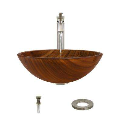 Glass Vessel Sink in Wood Grain with 726 Faucet and Pop-Up Drain in Brushed Nickel