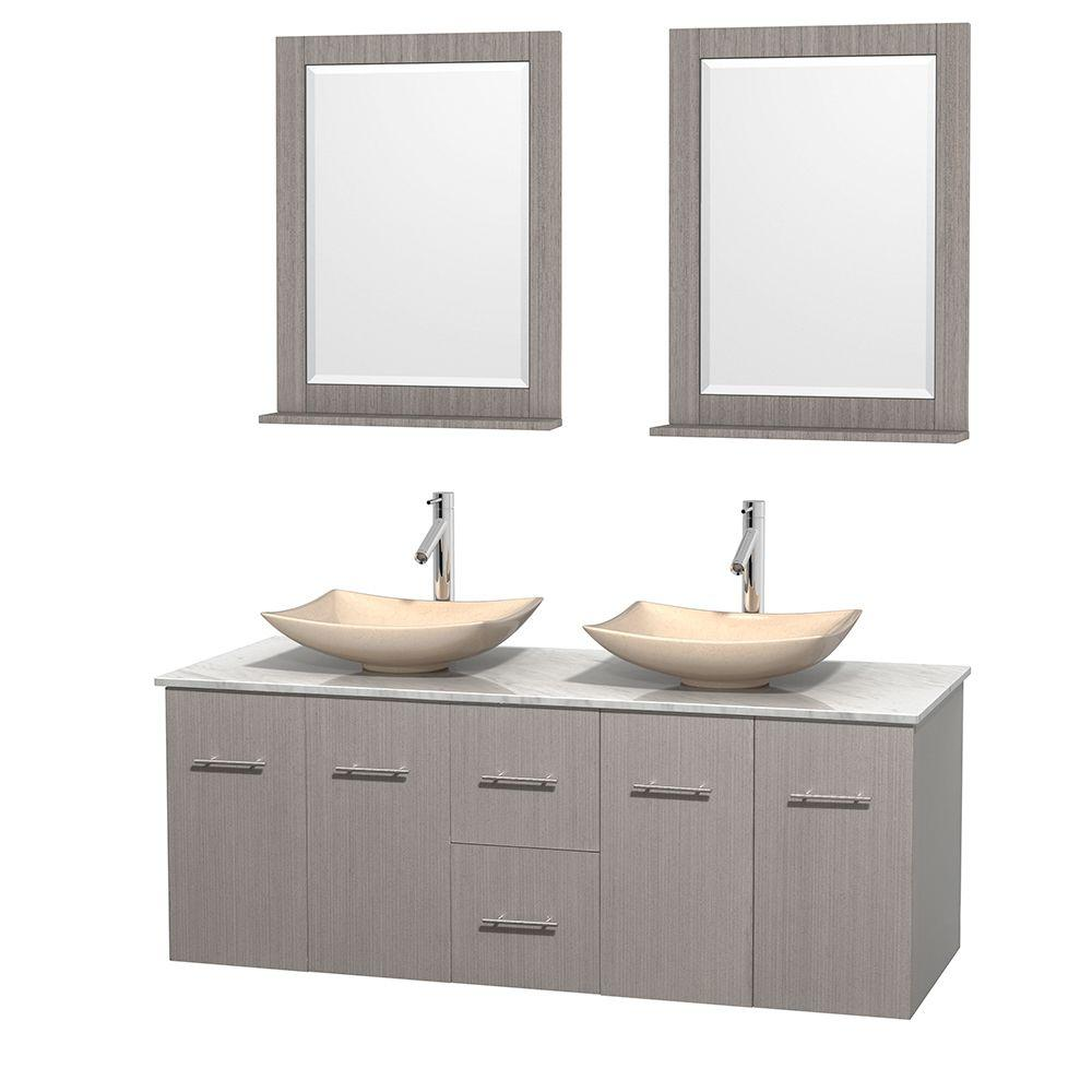 Wyndham Collection Centra 60 in. Double Vanity in Gray Oak with Marble Vanity Top in Carrara White, Ivory Marble Sinks and 24 in. Mirror