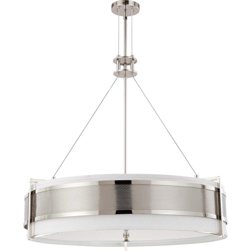 Glomar 6-Light Polished Nickel Round Pendant with Slate Gray Fabric Shade