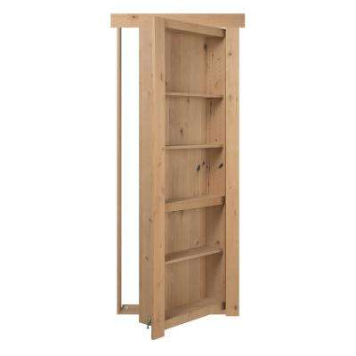 36 in. x 80 in. Flush Mount Assembled Alder Unfinished Left Hand Out-Swing Solid Core Interior Bookcase Door