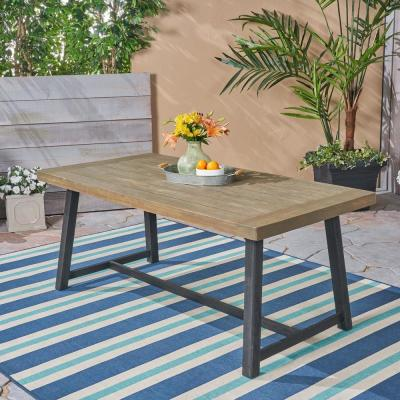 Raphael Sandblast Grey and Black Rectangular Wood Outdoor Dining Table