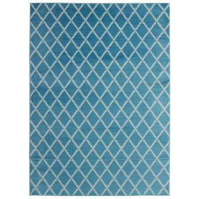 Jasmin Collection Blue and Ivory 7 ft. 10 in. x 9 ft. 10 in. Stripes Area Rug