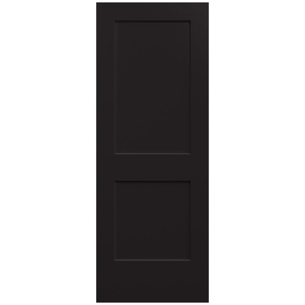 Jeld wen 32 in x 80 in monroe black painted smooth solid for Solid core mdf interior doors