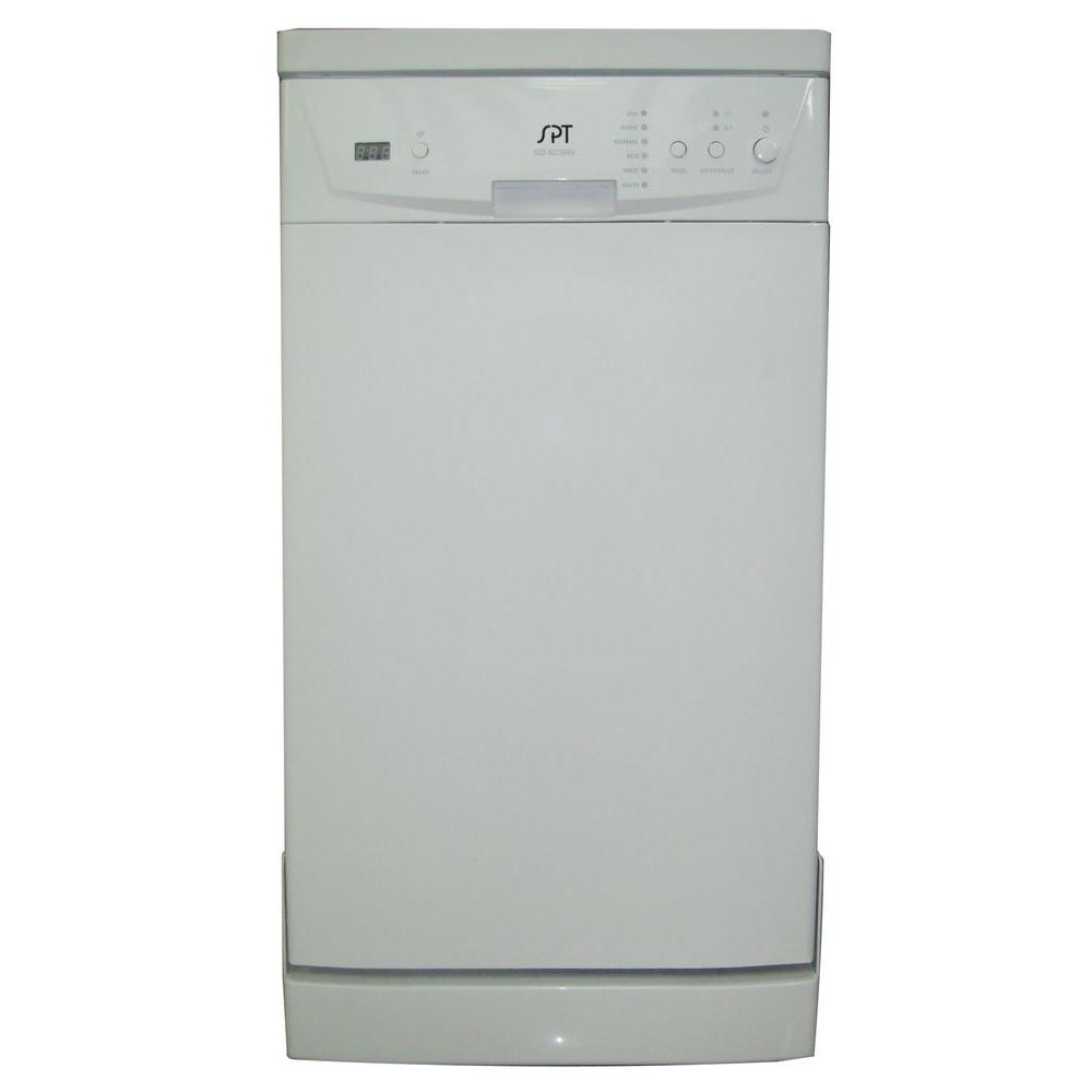 SPT 18 in. Front Control Portable Dishwasher in White with 8 Place Settings Capacity