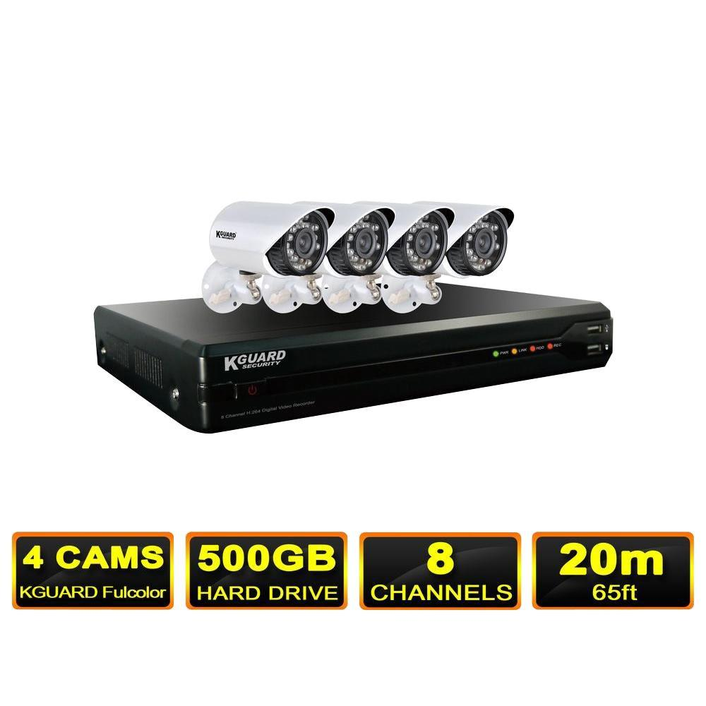 KGUARD Security One Touch Series 8-Channel Surveillance System with 500GB Hard Drive and (4) 600 TVL Camera-DISCONTINUED